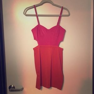 Pink and red fitted mini with cutouts
